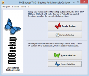 come fare backup di outlook