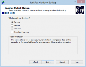 fare backup di outlook