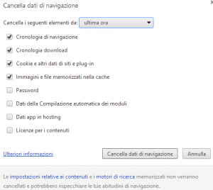 svuotare cache google chrome 2