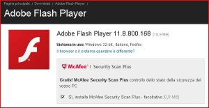 aggiornamento adobe flash player