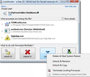 eliminare file bloccati online
